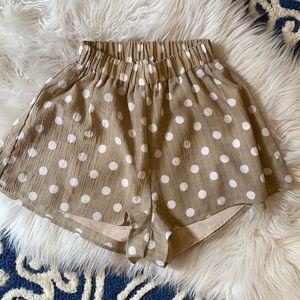 SuperDown high waist polka dot shorts